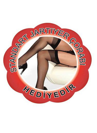 Merry See  Dantelli Jartiyer Takımı+ Çorap Hedıyelı Siyah